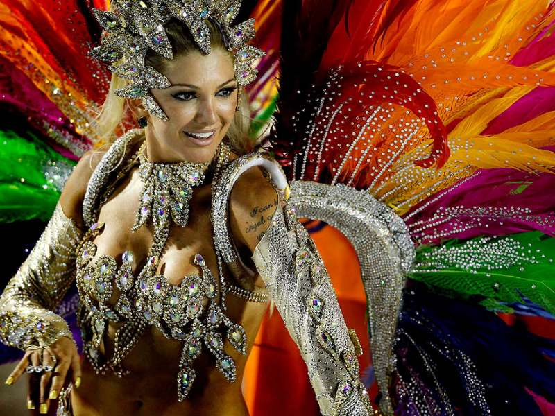 A dancer from the Mocidade samba school performs at the Sambadrome in Rio de Janeiro. (Felipe Dana/Associated Press)